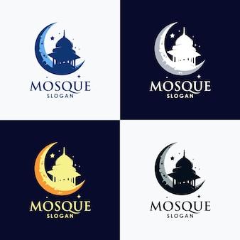 Conception de jeu de modèle de logo mosquée islamique