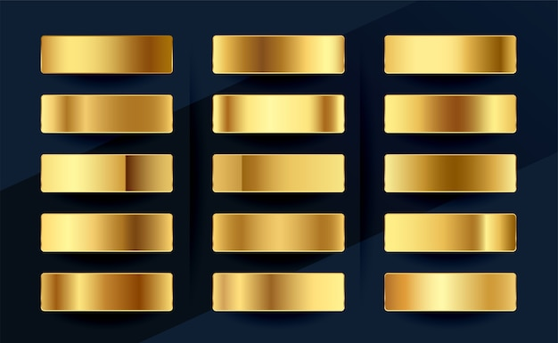 Conception de jeu de palette d'échantillons de dégradés d'or royal premium