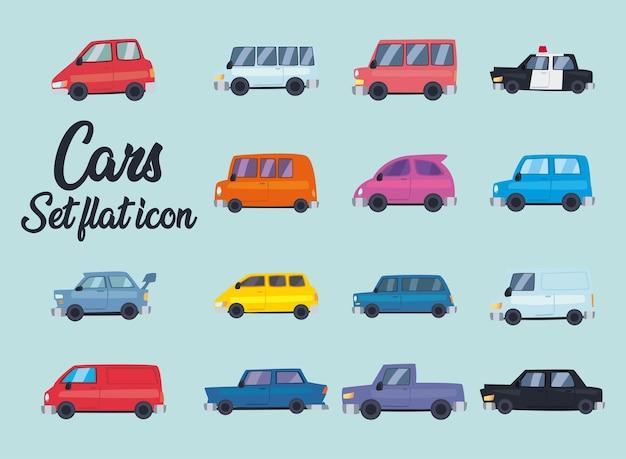 Conception de jeu de symboles plats de voitures de thème de transport et d'automobile automobile
