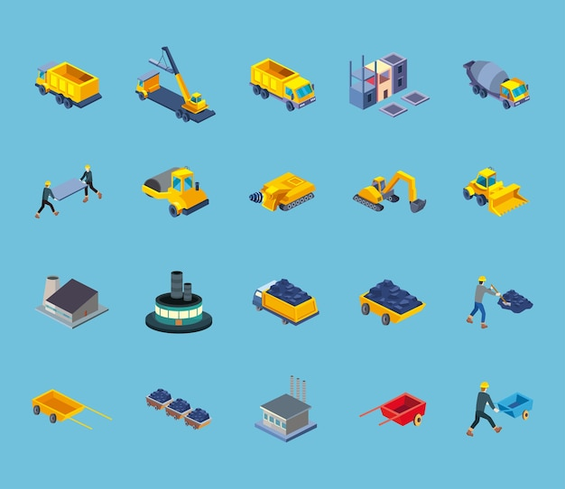 Conception de jeu de symboles de style isométrique de construction du thème de travail et de réparation de remodelage