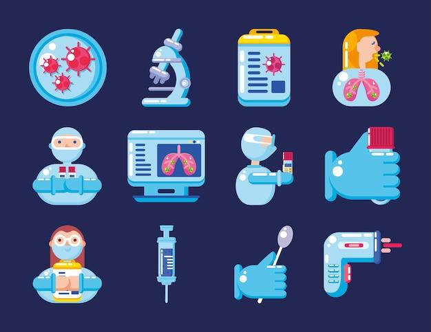 Conception de jeu de symboles de test de virus covid 19 du thème 2019 ncov cov et coronavirus