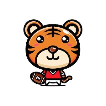 Conception de joueur de football américain tigre mignon