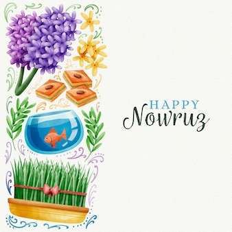Conception de jour aquarelle happy nowruz