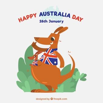 Conception de jour de l'australie avec des kangourous plats