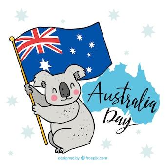 Conception de jour de l'australie avec koala sur le drapeau
