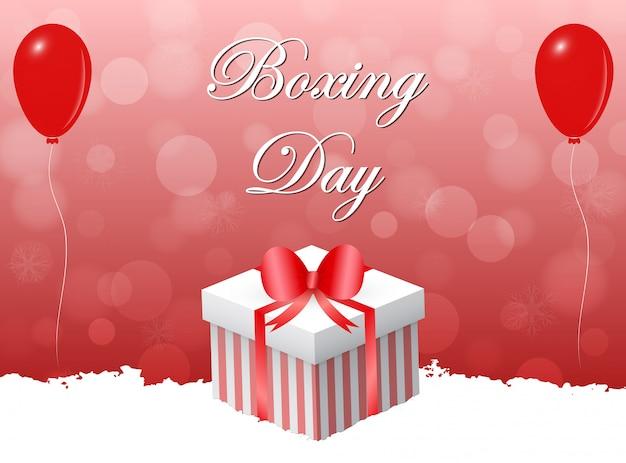 Conception de jour de boxe avec des décorations rouges.