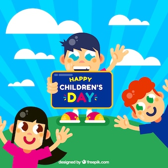 Conception de jour pour enfants avec des enfants avec de grands yeux