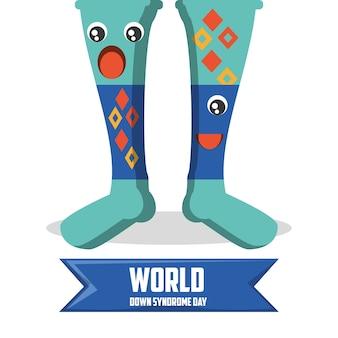 Conception de jour de syndrome de down avec des chaussettes colorées de dessin animé