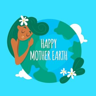 Conception de jour de la terre mère dessinée à la main