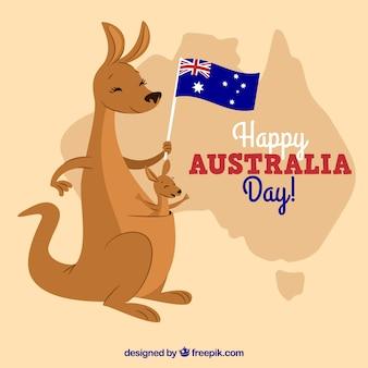 Conception de journée en australie avec kangourou mignon tenant le drapeau