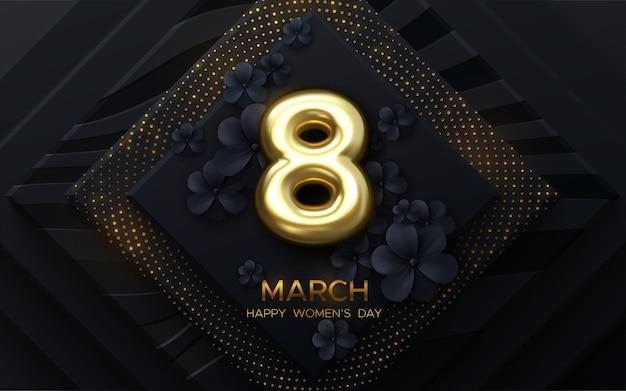 Conception de la journée de la femme du 8 mars avec des fleurs en papier