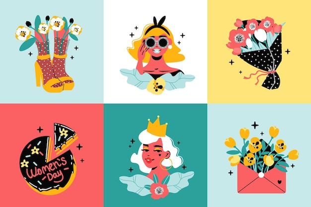 Conception de la journée internationale de la femme avec des personnages, des gâteaux et des fleurs cool