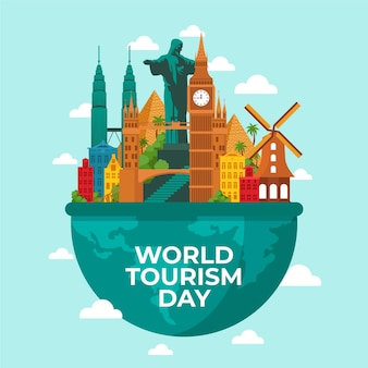 Conception de la journée mondiale du tourisme design plat