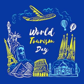 Conception de la journée mondiale du tourisme dessinée à la main