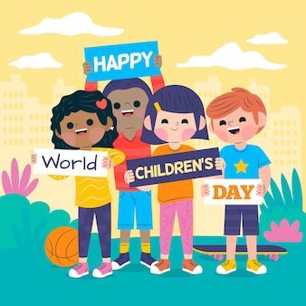 Conception de la journée mondiale des enfants