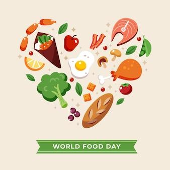 Conception de la journée mondiale de la nourriture design plat