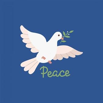 Conception de la journée de la paix avec une colombe blanche volante avec une branche d'olive verte dans son bec. illustration plate sur fond bleu foncé