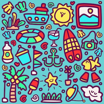 Conception de kawaii de doodle de dessin animé de plage