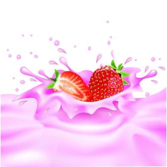 Conception de lait à la fraise