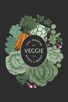 Conception de légumes de couleur vintage dessinés à la main.