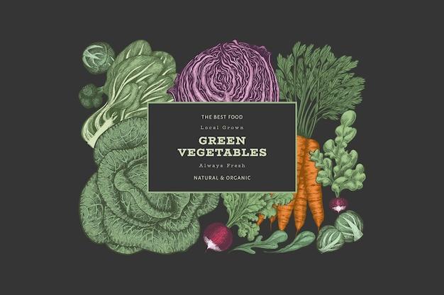 Conception de légumes de couleur vintage dessinés à la main