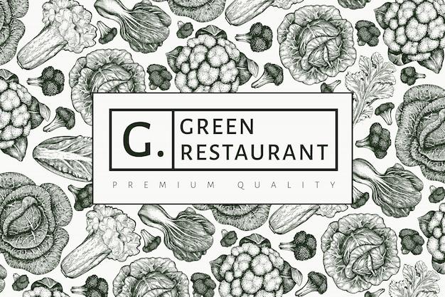 Conception de légumes croquis dessinés à la main. fond de légumes rétro. illustrations botaniques de style gravé.