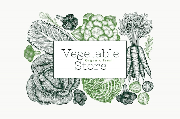 Conception de légumes croquis dessinés à la main.