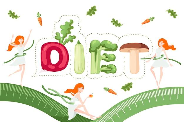 Conception de légumes de dessin animé de style diet sur plaque blanche avec illustration vectorielle plate couteau et fourchette isolée sur fond blanc
