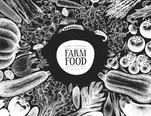 Conception de légumes dessinés à la main t