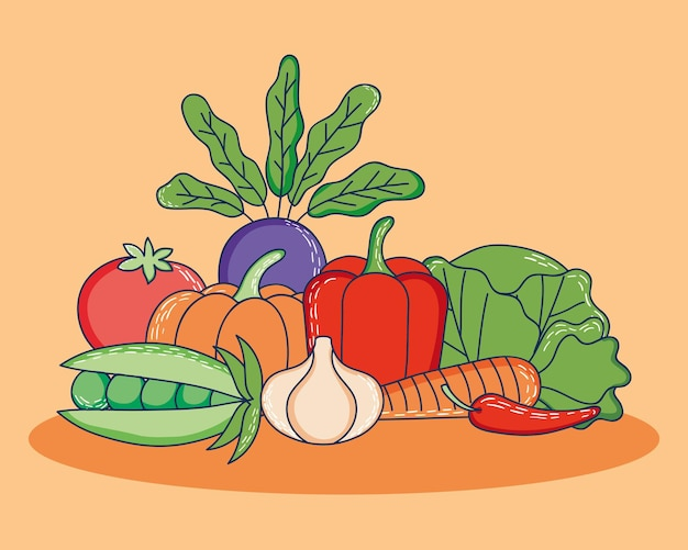 Conception de légumes sains sur fond