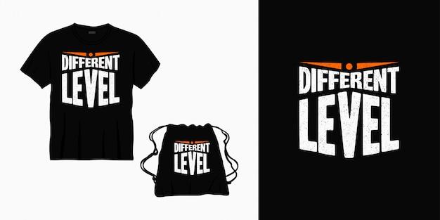 Conception de lettrage de typographie de niveau différent pour t-shirt, sac ou marchandise