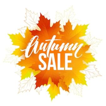 Conception de lettrage de vente d'automne. feuille d'automne. étiquette, modèle de bannière. illustration vectorielle eps10