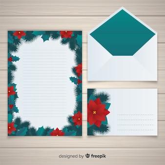 Conception de lettre et enveloppe plate de noël
