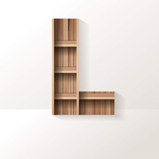 Conception de lettre l d'étagère en bois