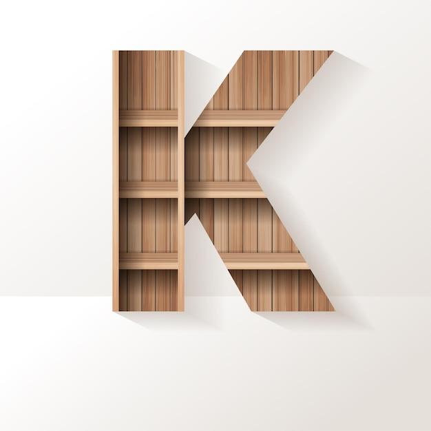 Conception de lettre k d'étagère en bois