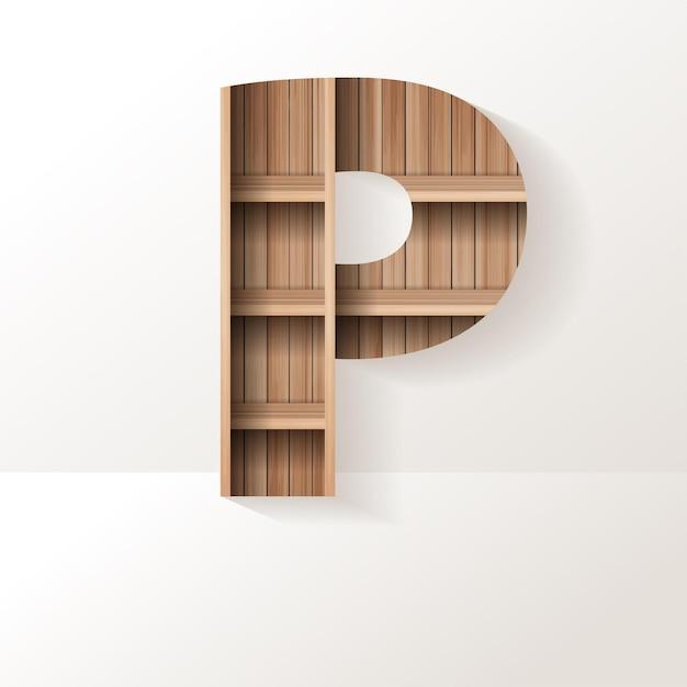 Conception de lettre p d'étagère en bois