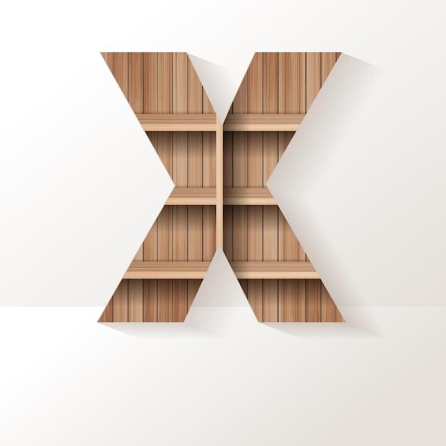 Conception de lettre x d'étagère en bois