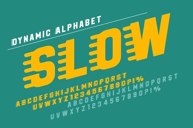 Conception de lettres d'affichage de course, alphabet dynamique, nombres. caractères vectoriels. 15 degrés d'inclinaison