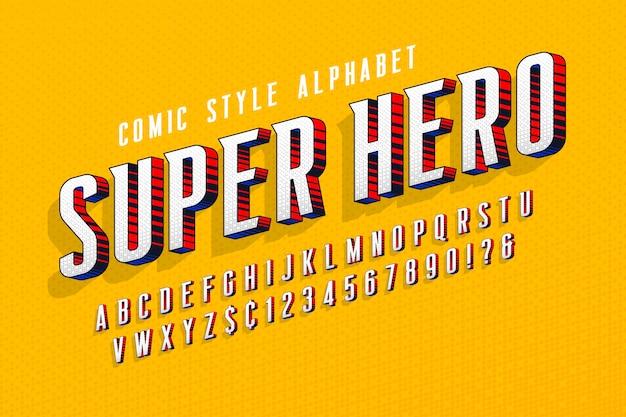 Conception de lettres comiques 3d à la mode, alphabet coloré, police de caractères.