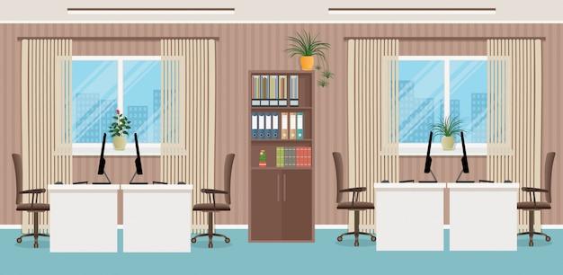 Conception de lieu de travail avec quatre lieux de travail et des meubles de bureau comme des tables