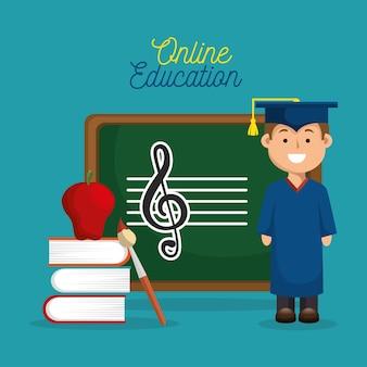 Conception en ligne de l'éducation de remise des diplômes garçon heureux