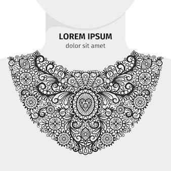 Conception de ligne d'impression de cou. col noir décoratif à la mode florale avec logo sur fond blanc. illustration vectorielle