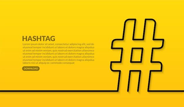 Conception de ligne minimale de hashtag sur fond jaune, tendance du concept de publication sur les médias sociaux