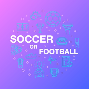 Conception de ligne plate d'icônes de football ou de football.