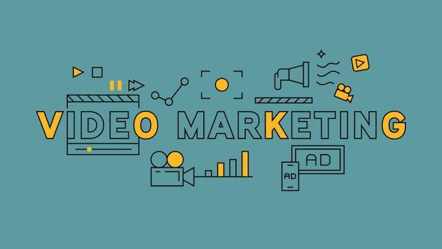 Conception de ligne plate de marketing vidéo