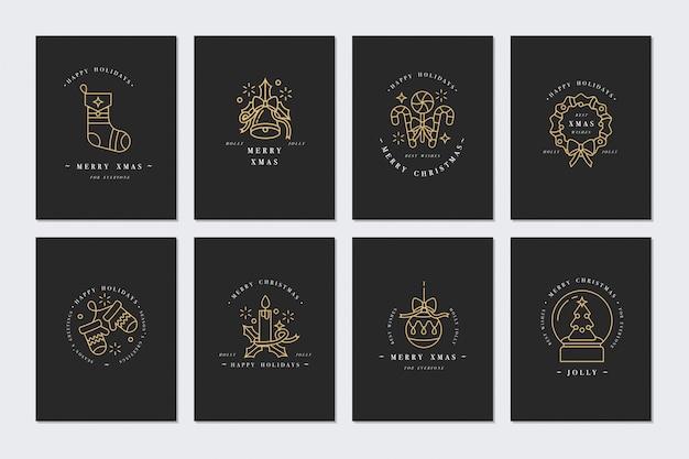 Conception linéaire carte de voeux de noël sur fond sombre. typographie et icônes pour fond de noël, bannières ou affiches et autres imprimables.