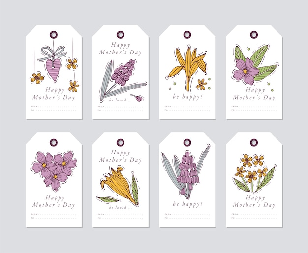 Conception linéaire pour les éléments de salutations de la fête des mères. balises de vacances de printemps avec typographie et icône colorée.