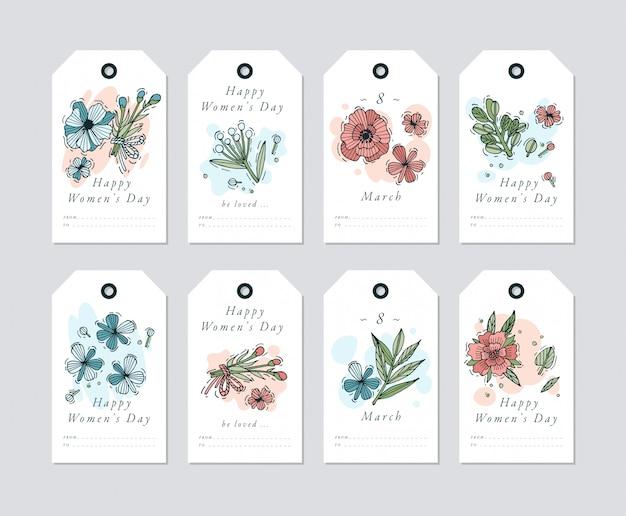Conception linéaire pour les éléments de salutations de la journée de la femme sur fond blanc. étiquettes de vacances de printemps avec typographie et icône colorée.