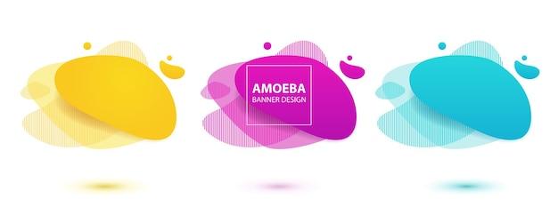 Conception de liquide amibemodèle de bannière moderne pour la conception de présentation de flyer de logo jaune rouge bleu