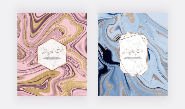 Conception liquide d'encre d'encre pailletée bleue, rose et rose avec cadre en marbre.